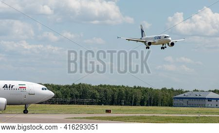 July 2, 2019, Moscow, Russia. Airplane Airbus A319-100 Fly One Airlines At Vnukovo Airport In Moscow