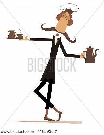 Long Mustache Comic Cook Flat Illustration.  Mustache Cook Carries A Tray With Coffee Or Tea Cup And