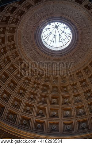 Vatican - October 30, 2013: Coffered Ceiling Of The Sala Rotonda (round Hall) In Vatican Museums, Va