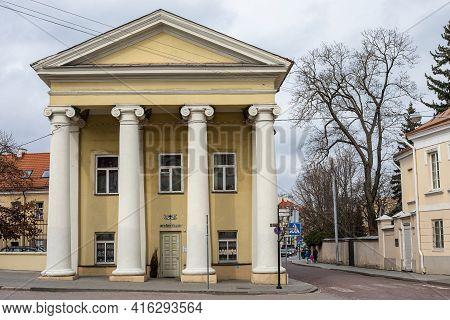 Vilnius, Lithuania - March 28, 2021: De Choiseul (de Reuss) Palace In Simonas Daukantas Square Of Vi
