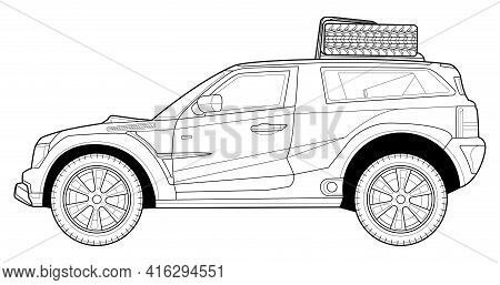 Coloring Page For Book And Drawing. Concept Vector Illustration. Offroad Drive Vehicle. Graphic Elem