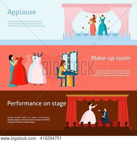 Audience Applause After Performance And Theater Backstage Dressing Room Flat Horizontal Banners Coll