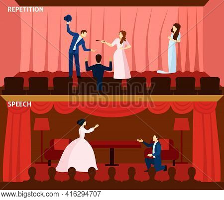 Final Rehearsal Presentation And Stage Performance Love Scene 2 Flat Horizontal Banners Poster Abstr
