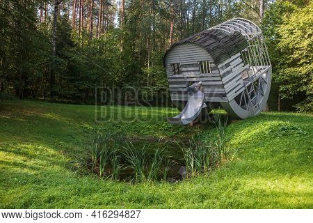 Vilnius, Lithuania - August 31, 2019: Sculpture Drinking Structure With Exposed Kidney Pool By Denni