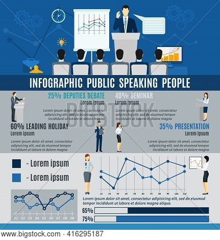 Infographic Public People Speaking To Audience From  Podium   Statistics  And Graphs Flat  Vector Il