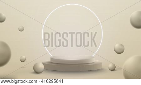 3D Render Illustration With Abstract Scene With Neon White Ring Around Podium. Abstract Room With 3D