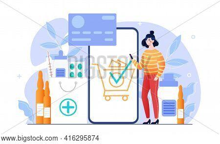 Online Pill Drugstore. Online Pharmacy, E Commerce Store. Flat Modern Abstract Metaphor Cartoon Vect