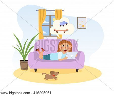 Young Girl Lying On The Couch Watching The Table And Dreaming About New Equipment For Summer Sport A