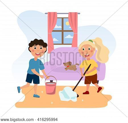 Kids Doing Housework Chores At Home. Family Domestic Cleaning Dirty Floor Or Regular Household Worki