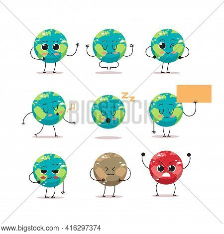 Set Cute Earth Characters With Different Emotions Cartoon Mascot Globe Personages Collection Save Pl
