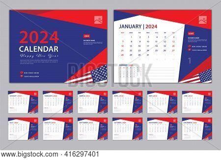 Set Desk Calendar 2024 Design, Calendar 2024 Template, Set Of 12 Months, Blue Cover Design, Wall Cal
