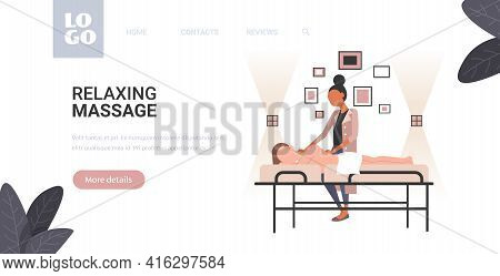 Woman Receiving Body Contouring Masseuse In Spa Salon Makes Anti Cellulite Relaxing Procedures Skin
