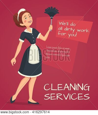 Cleaning Service Advertisement With Cleaning Woman In Classic Maid Dress Cartoon Vector Illustration