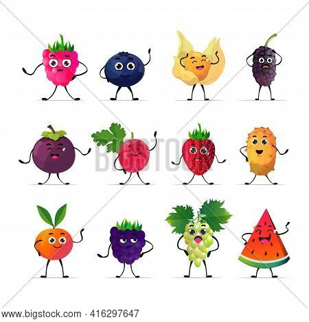 Set Cute Fresh Juicy Characters Tasty Ripe Berry Fruits Mascot Personages Collection Isolated On Whi