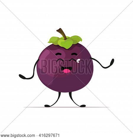 Crying Cute Fresh Mangosteen Personge Tasty Ripe Fruit Mascot Character Isolated On White Background