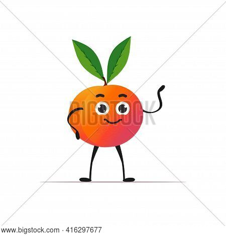 Cute Fresh Juicy Orange Character Tasty Ripe Fruit Mascot Personage Isolated On White Background Hea