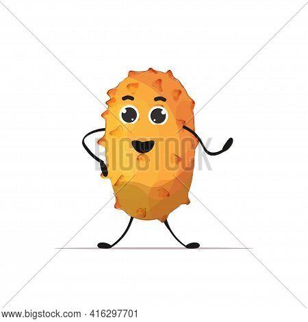 Fresh Juicy Kiwano Personage Tasty Ripe Fruit Berry Mascot Character Isolated On White Background He
