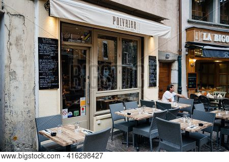 Annecy, France - Aug 15, 2017: Empty Tables Of Poivrier Restaurant In Central Annecy With No Custome