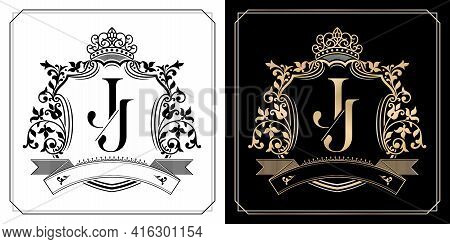 J J Royal Emblem With Crown, Initial Letter And Graphic Name Frames Border Of Floral Designs With Tw