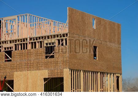 Rafters And Walls Of A Plywood House New Woodwork Work Building