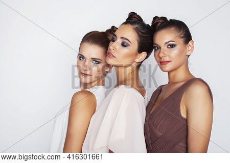 Tree Pretty Stylish Young Woman With Same Hairstyle And Makeup, Best Friend Together Having Fun, Lif