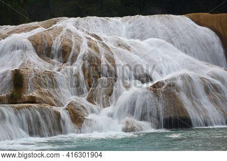 Agua Azul Waterfall, Yucatan  Peninsula, Mexico. Agua Azul Cascades Waterfall Is Located 64 Km From
