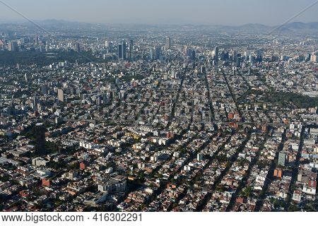 An Aerial View Of Paseo De La Reforma And  Skyscraperes In Mexico City.