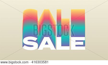 Sale. Rainbow Gradient Effect. Vector 3d Illustration. Text Design In Retro Sixties Years Style.