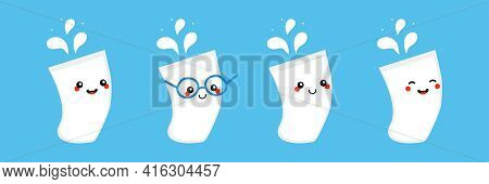 Set, Collection Of Cute And Smiling Cartoon Style Glasses Of Milk With Splashes Characters. Glasses