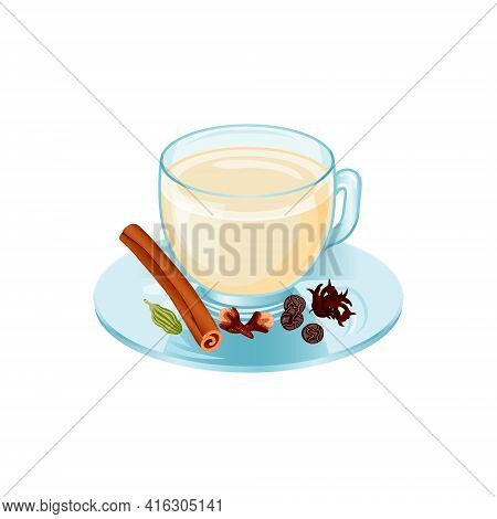Masala Chai Cup. Isolated Vector Object On White Background. Hot Drink In Cartoon Style. Hand Drawn.