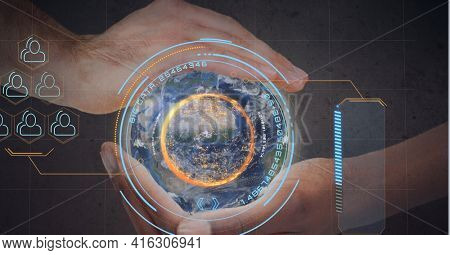 Composition of scope spinning over globe held by man. global networks of connections and technology concept digitally generated image.