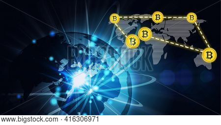 Composition of network of connections with digital bitcoin icons over globe and world map. global networks of connections and technology concept digitally generated image.