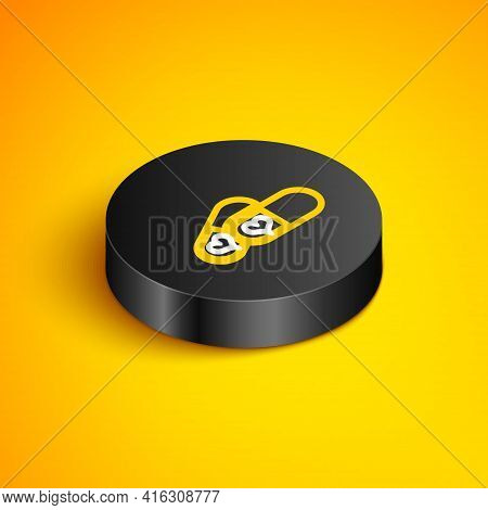 Isometric Line Pills For Potency, Aphrodisiac Icon Isolated On Yellow Background. Sex Pills For Men