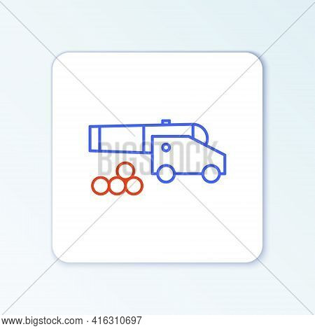 Line Cannon With Cannonballs Icon Isolated On White Background. Medieval Weapons. Colorful Outline C