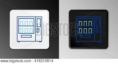 Line Vending Machine Of Food And Beverage Automatic Selling Icon Isolated On Grey Background. Colorf