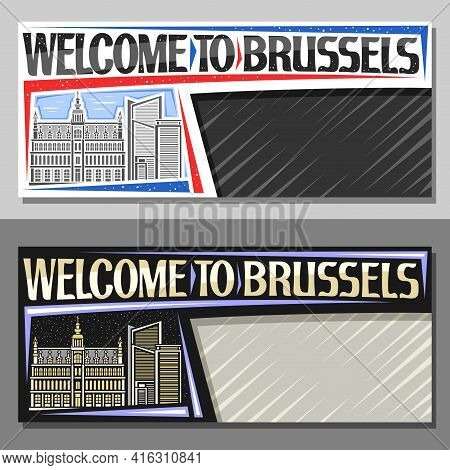 Vector Layouts For Brussels With Copy Space, Decorative Voucher With Line Illustration Of Brussels C