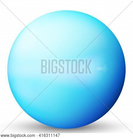 Glass Blue Ball Or Precious Pearl. Glossy Realistic Ball, 3d Abstract Vector Illustration Highlighte