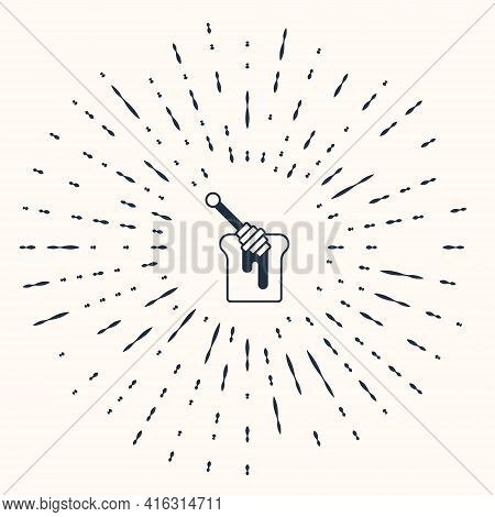 Grey Honey Dipper Stick With Dripping Honey Icon Isolated On Beige Background. Honey Ladle. Abstract
