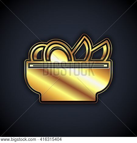 Gold Nachos In Plate Icon Isolated On Black Background. Tortilla Chips Or Nachos Tortillas. Traditio