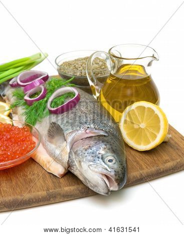 Raw Trout, Vegetables, Olive Oil, Lemon And Red Caviar