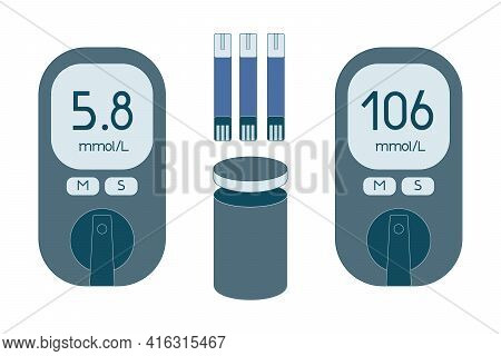 Simple Flat Glucometer And Standard Test Strips In Package. Electronic Glucometer Set - Device For S