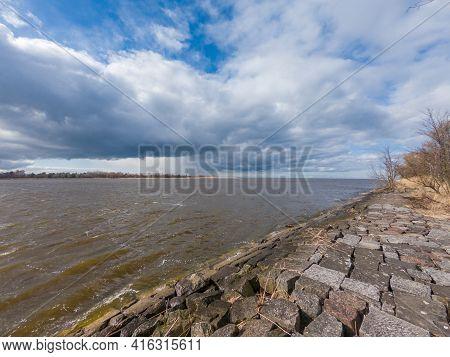 Vistula River Bank Near Baltic Sea In Mikoszewo, Poland.