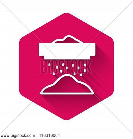 White Sifting Flour, Cereals Or Powdered Sugar Through Sieve Icon Isolated With Long Shadow Backgrou