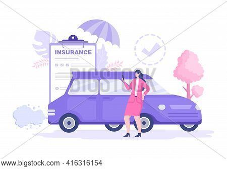 Car Insurance Concept Can Be Used As Protection For Vehicle Damage And Emergency Risks. Vector Illus