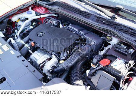Bordeaux , Aquitaine France - 04 07 2021 : Peugeot 508 Motor Engine Hood Open Of New Car