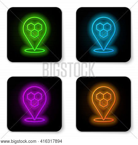 Glowing Neon Line Honeycomb Bee Location Map Pin Pointer Icon Isolated On White Background. Farm Ani