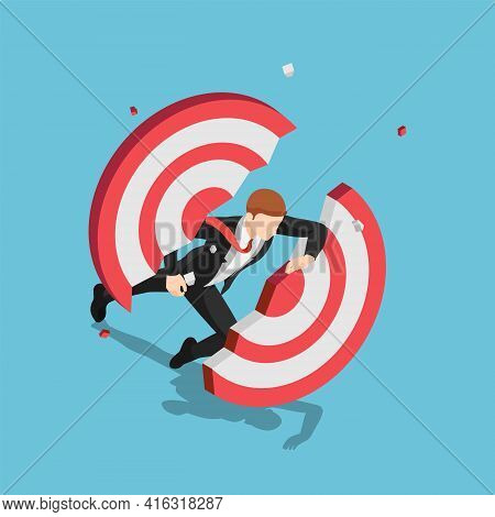 Flat 3d Isometric Businessman Dashing Through And Breaking Target. Business Success And Leadership C