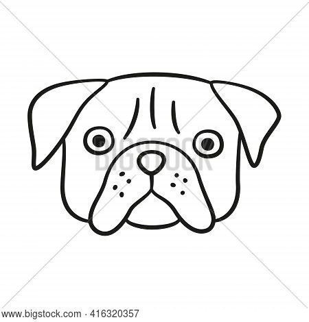 Cute Pug Face. Dog Head Icon. Hand Drawn Isolated Vector Illustration In Doodle Style On White Backg