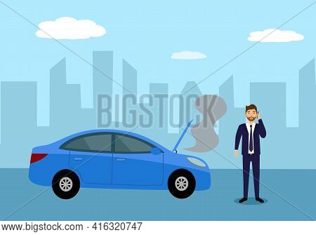 Business Man On Phone With Car Repair Service In Front Of Broken Car In Flat Design. Car Accident.