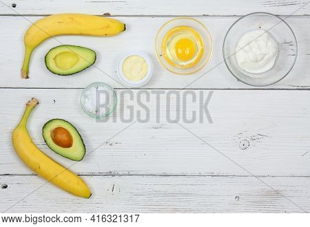Natural Ingredients For Smoothing, Softening And Hydrating Your Hair.  Avocado, Banana, Yogurt ,coco